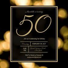 50th Birthday Invitations Templates Black And Gold Bokeh 50th Birthday Invitation Templates By