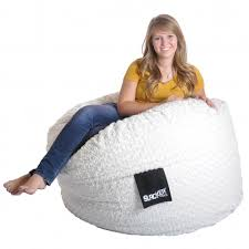 4-foot Round White Fur and Foam Large Kid Bean Bag Chair - Free Shipping  Today - Overstock.com - 15781144