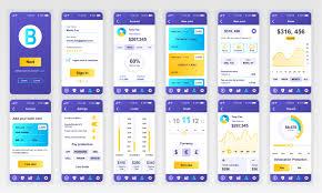 Ux Flat Design Set Of Ui Ux Gui Screens Banking App Flat Design Template