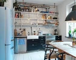 small kitchen refrigerator. Small Kitchen Refrigerator Set Up Retro Fridge Open Wall Shelves Wooden Table Kitchenaid