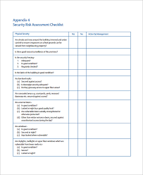 risk assessment checklist template