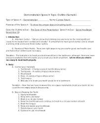 Demonstration Speech Outline Example Of A Demonstrative Speech Outline Types Demonstration