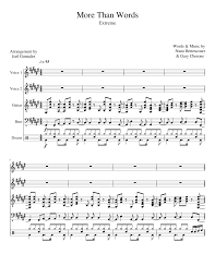 Extreme More Than Words Sheet Music For Flute Oboe Guitar Bass
