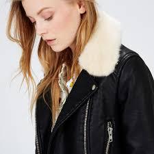fur collar biker jacket warehouse home warehouse faux fur collar leather