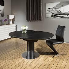 modern dining table black oak round oval extending 1 2 1 6mtr new