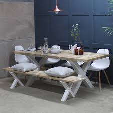Kitchen Table Reclaimed Wood Kings Cross Reclaimed Wood Dining Table With X Frame By Rust