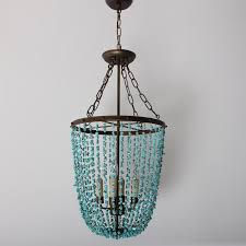 retro 4 light hanging pendant fixture coastal turquoise beaded chandelier lamp