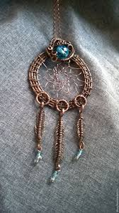 Wire Wrap Dream Catcher Tutorial Copper wire wrapped dreamcatcher pendant Sparkling turquoise 69