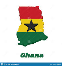 Who Designed The Flag Of Ghana 3d Map Outline And Flag Of Ghana A Horizontal Triband Of