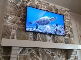 rock fireplace tv install dallas tx
