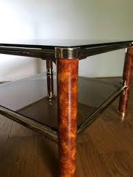 italian two tier brass smoked glass