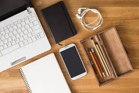 student desk top view. Perfect Desk Mock Up Of Student Desk With Laptop Note Phone And Pencils In Wooden Box Intended Student Desk Top View S