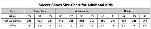 Soccer Boot Size Chart Leoci Men Women Kids Training Shoes Fg Soccer Boots Firm