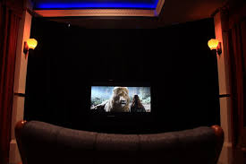 this theater was built on a shoestring budget equipped for either 7 1 formats here a head on center all speakers and gear black velvet curtains
