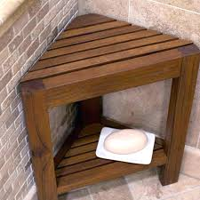 wood shower walls living corner teak bench with shelf bathtub accessories at benches wall mounted folding