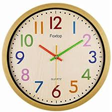 Foxtop Silent Colorful Kids Wall Clock 12.5 Inch Large Decorative Non  ticking Wall Clock Vintage Country