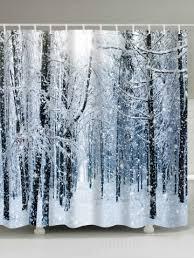 snow forest print waterproof bath curtain