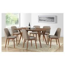 dining chairs faux leather. lavin mid-century faux leather dining chairs - brown walnut/beige (set of 2) baxton studio d