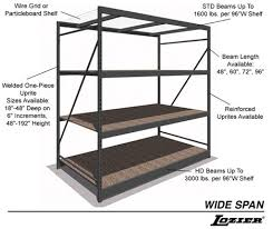 wide span shelving is the solution for medium to heavy duty hand stacked loads or bulk merchandise also available in a reinforced style for weight loads
