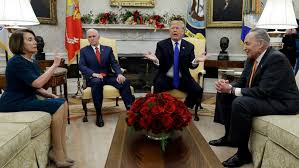 trump meeting with schumer pelosi erupts over border wall funding abc news