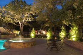 landscape lighting with pool