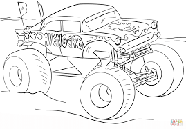 Printable Monster Truck Coloring Sheet Music Template Free Grave