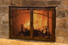 image of glass fireplace doors