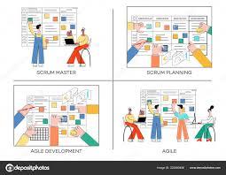 Vector Illustration Set Of Scrum Planning Technique Of Teamwork On