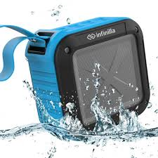 speakers portable. infinilla waterproof bluetooth speakers, portable wireless speaker for outdoor, shower, beach and golf, 12 hour playtime with fm radio, mic, nfc sd card speakers