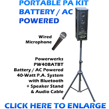 sound system kit. portable pa sound system kit - battery / ac powered bluetooth wireless input