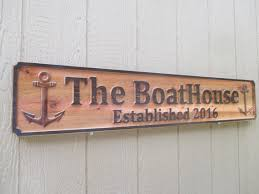 Wood Address Signs Outdoor Decor Custom Outdoor Signs Personalized Boat House Sign Established Sign 8