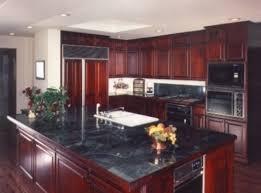 Dark Red Painted Kitchen Cabinets