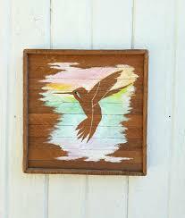 wooden silhouette wall art hummingbird art acrylic painting reclaimed wood lath  on hummingbird wood wall art with wooden silhouette wall art hummingbird art acrylic painting