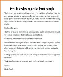 Ideas Collection Rejection Letter After Interview Interview