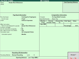 Salary Expenses Calculator House Rent Allowance Pay Head Payroll In Tally Erp 9