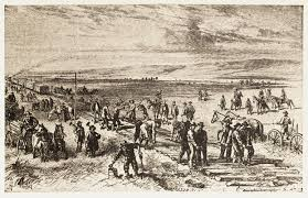 cultural impact the transcontinental railroad artist depiction of union pacific crews building grade and track through nebraska