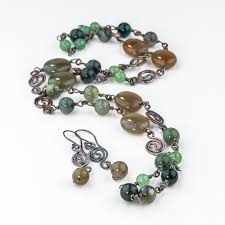 green stone necklace and earrings set