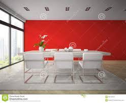 Innenraum Des Modernen Esszimmers Mit Roter Wiedergabe Der