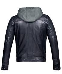 mens leather jacket with hood vintage black er genuine leather
