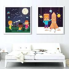 wall arts framed nursery wall art modern cartoon cute airship star moon oil canvas painting