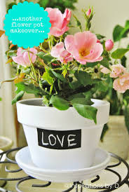 painted flower pot with chalkboard paint