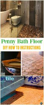 diy copper penny bath floor tutorial cool diy ways to decorate home garden with pennies recycle penny homedecor