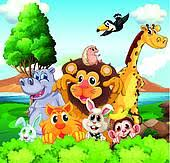 group of zoo animals clipart. Group Of Animals Near The River On Zoo Clipart