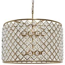 cassiel crystal drum chandelier brass finish