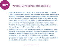 personal development plans sample personal development plans