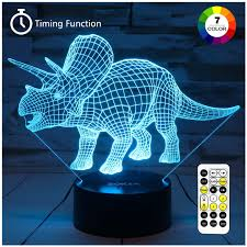 Triceratops Light Zokea Night Lights For Kids Dinosaur 3d Night Light Bedside Lamp 7 Colors Changing With Remote Control Best Birthday Gifts For Boys Girls Kids Baby