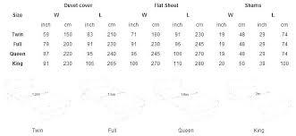 Flat Sheet Size Chart Double Sheet Size Jjhome