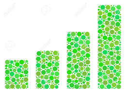 Bar Chart Collage Of Dots In Different Sizes And Fresh Green