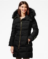 black puffer coats calvin klein faux fur trim down puffer coat