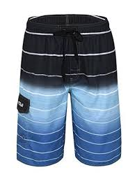 Nonwe Mens Beachwear Quick Dry Striped Board Shorts Mens